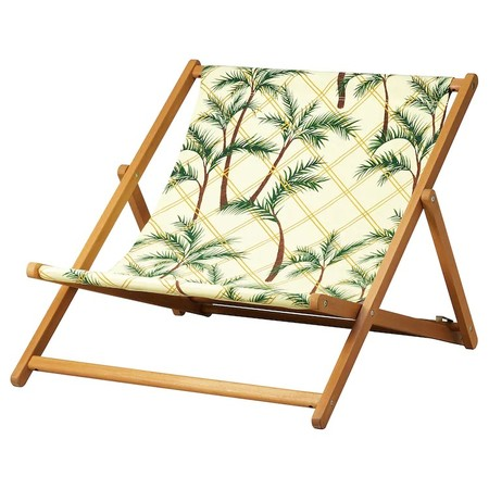 Solblekt Beach Chair Foldable Eucalyptus Palm Pattern Yellow 0825000 Pe776226 S5