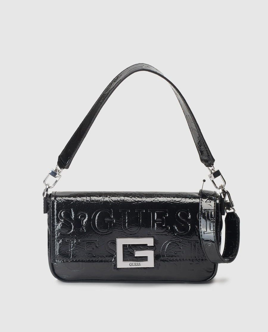 Bolso de hombro pequeño Guess Brightside en negro con grabado de logos
