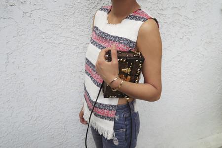 Aimee Song Of Stye Sea New York Tweed Top Louis Vuitton Petite Malle Clutch
