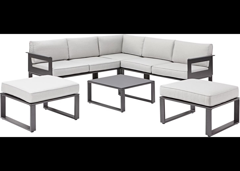 Set de sofás y mesa baja Odyssea de aluminio para 4 personas