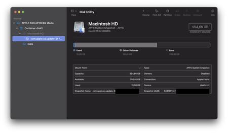 Utilidad de discos con la información de mi SSD en el M1.