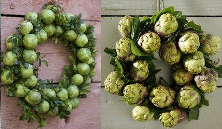 coronas navideñas con hortalizas
