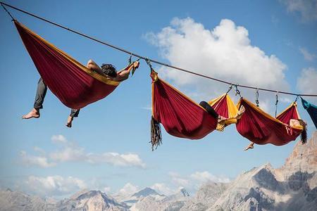 Hamacas del extremo en Monte Piana, Italia