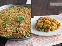 Receta de arroz con costillas y guisantes frescos