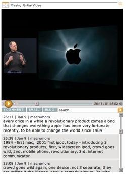 El vídeo de la keynote combinado con la transcripción de la Macworld, en ClickTV