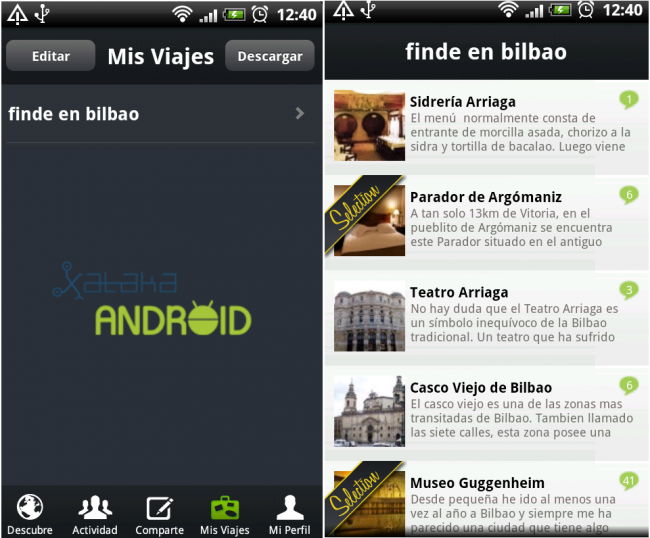 Viajes Minube Android