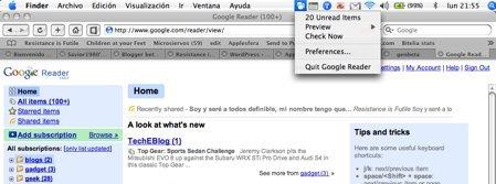 Google Reader ya disponible en Safari y en tu Menú