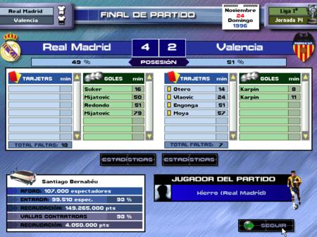 PC Fútbol 5.0 Partido perdido 4-2 contra el Real Madrid