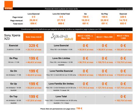 Precios Sony Xperia Xz3 Con Tarifas Orange Y Pago A Plazos