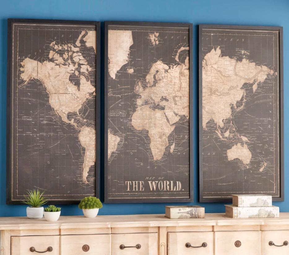 Cuadro tríptico mapa del mundo negro 180x120