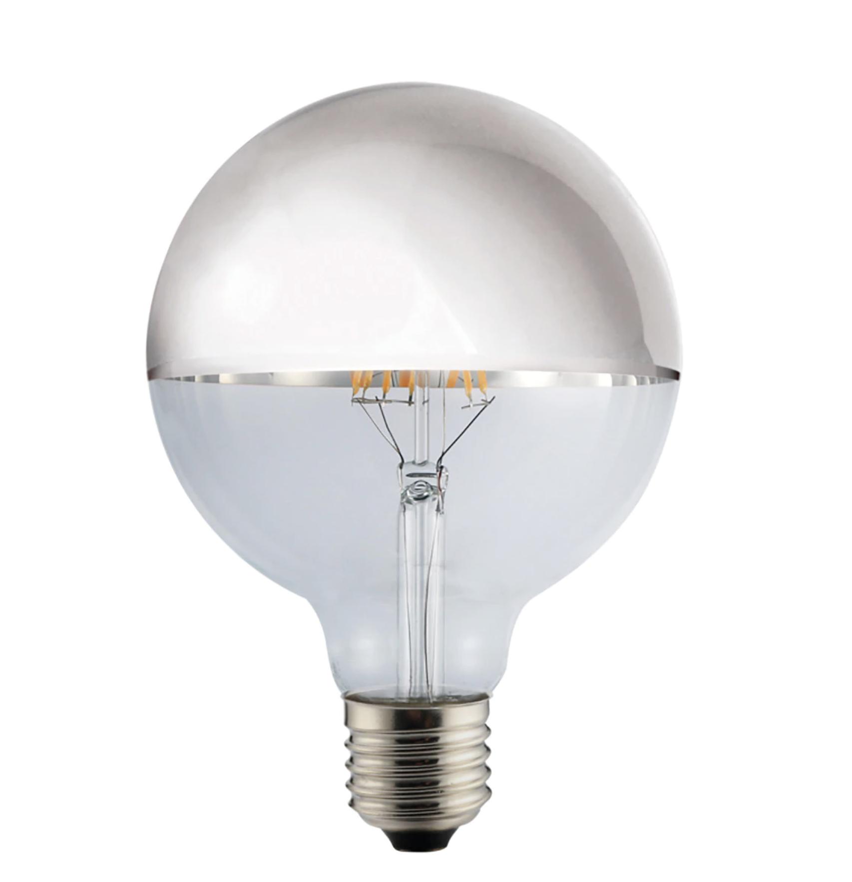 Bombilla LED globo con filamento visto en plata CristalRecord