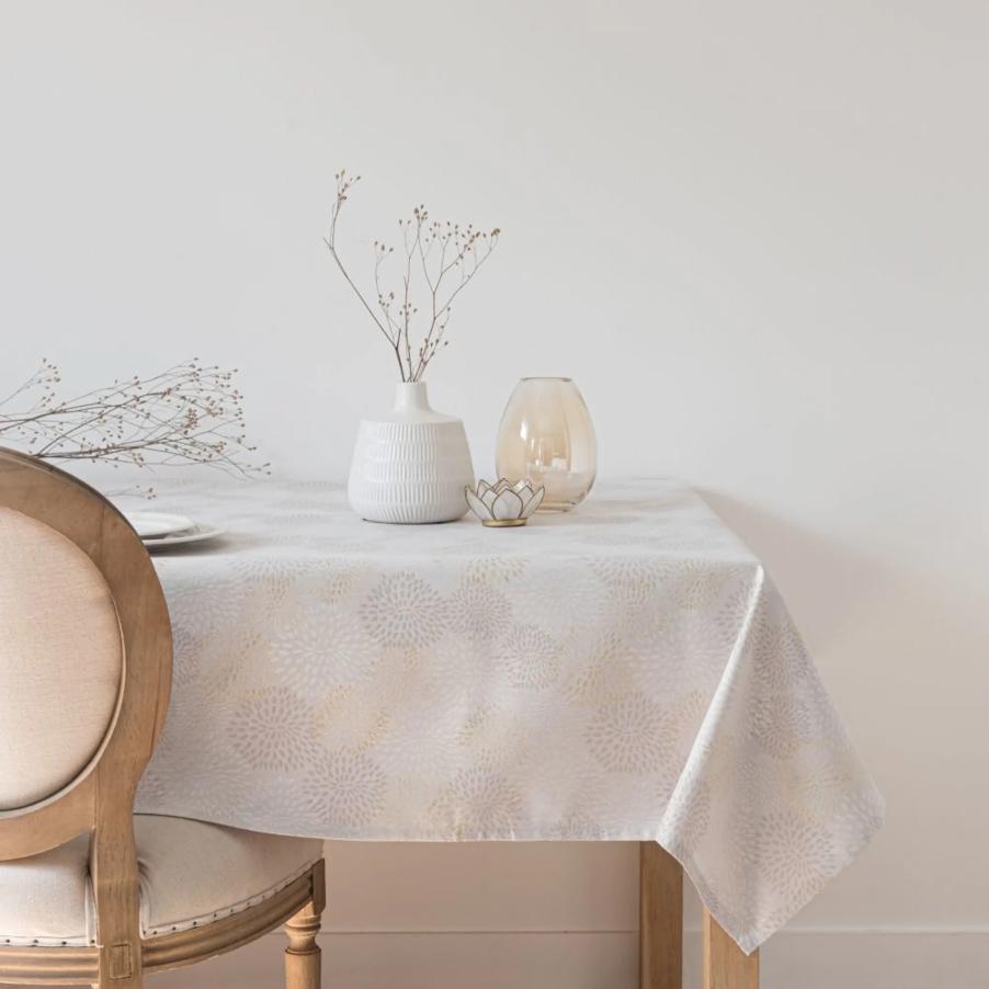 Mantel de color crudo con motivos dorados Cassandre 150x250