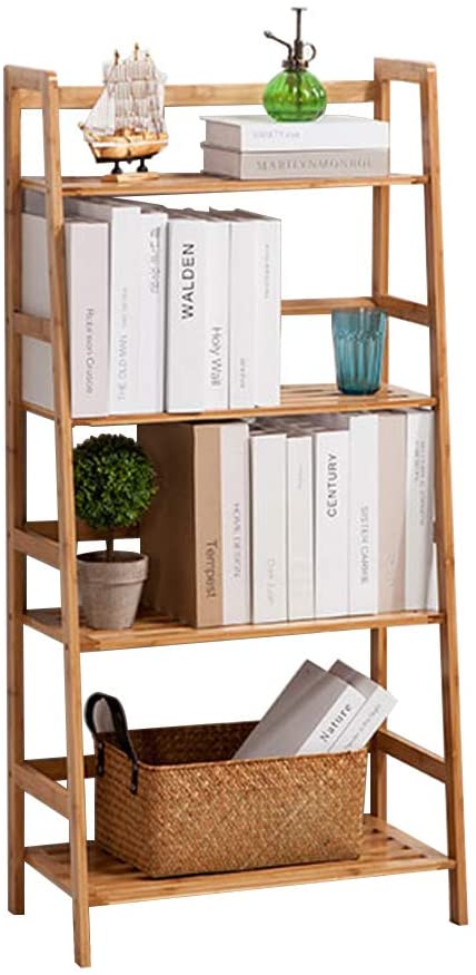 SogesHome Librería con 4 Niveles 48 x 30 x 119 cm Soporte de Flores Escalera de Plantas Estante de bambú Exhibidor de estantes