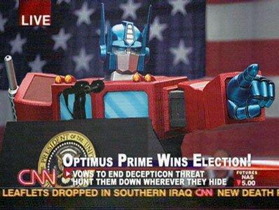 Ni Bush ni Kerry, Optimus Prime gana en EE UU