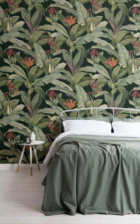 Papel Pintado Vintage Negro Con Hojas Tropicales Verdes