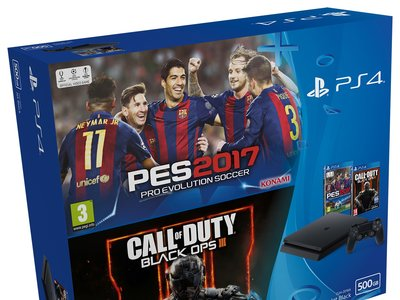 PlayStation 4 Slim 500GB + PES 17 + COD Black OPS III por 289,95 euros