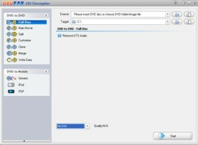 DVDFab HD Decrypter, copias de seguridad de HD-DVD