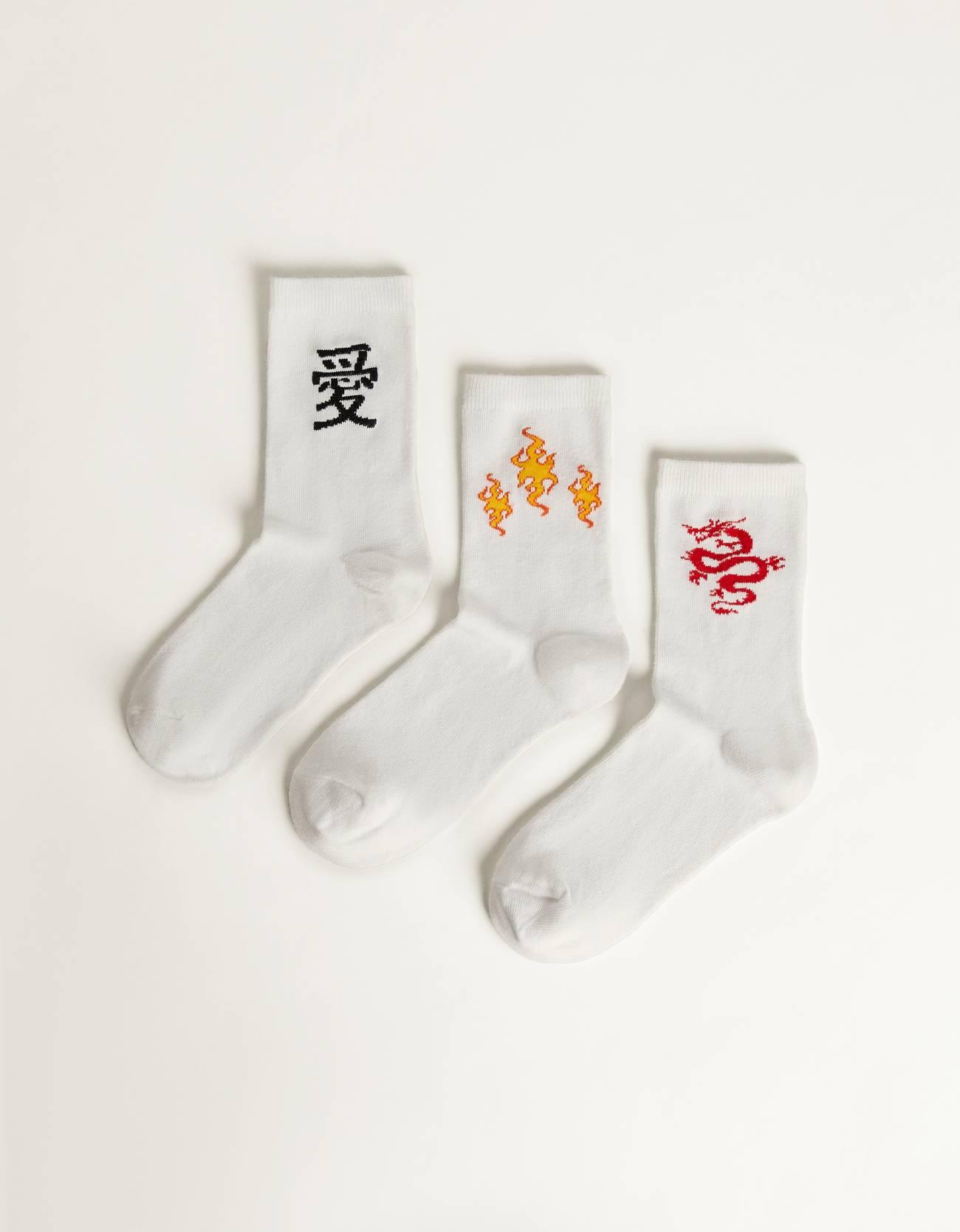 Pack de tres pares de calcetines con llamas y motivos asiáticos