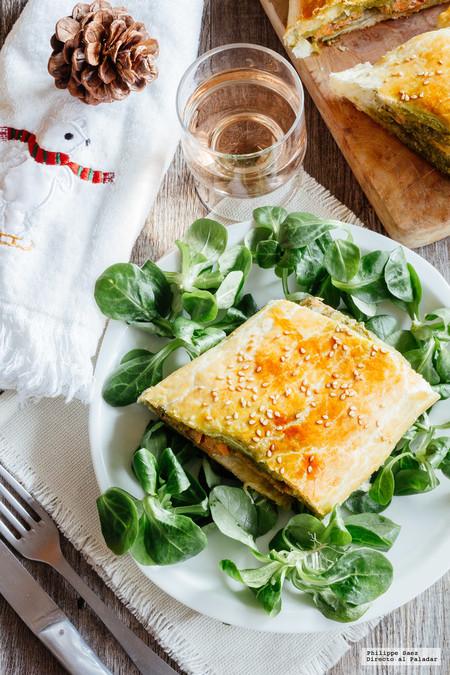Hojaldre de salmon y pesto
