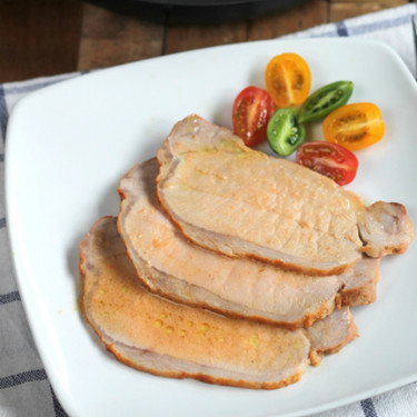 Lomo de cerdo asado con leche de coco y especias para tandoori, apta para todos porque no contiene ni lactosa ni gluten