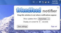 Friendfeed Notifier, notificaciones de Friendfeed en tiempo real