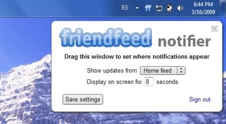 Friendfeed Notifier, notificaciones de Friendfeed en tiempo real