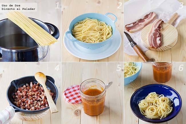 Espaguetis con panceta y salsa de tomate casera paso a paso