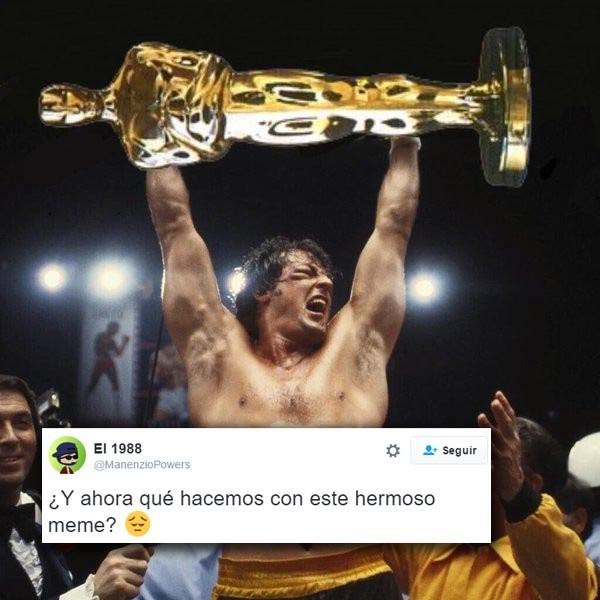 Meme de Stallone con el Oscar