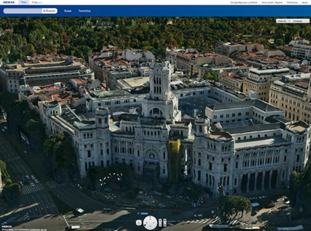 Mapa 3D de Madrid en Nokia Maps