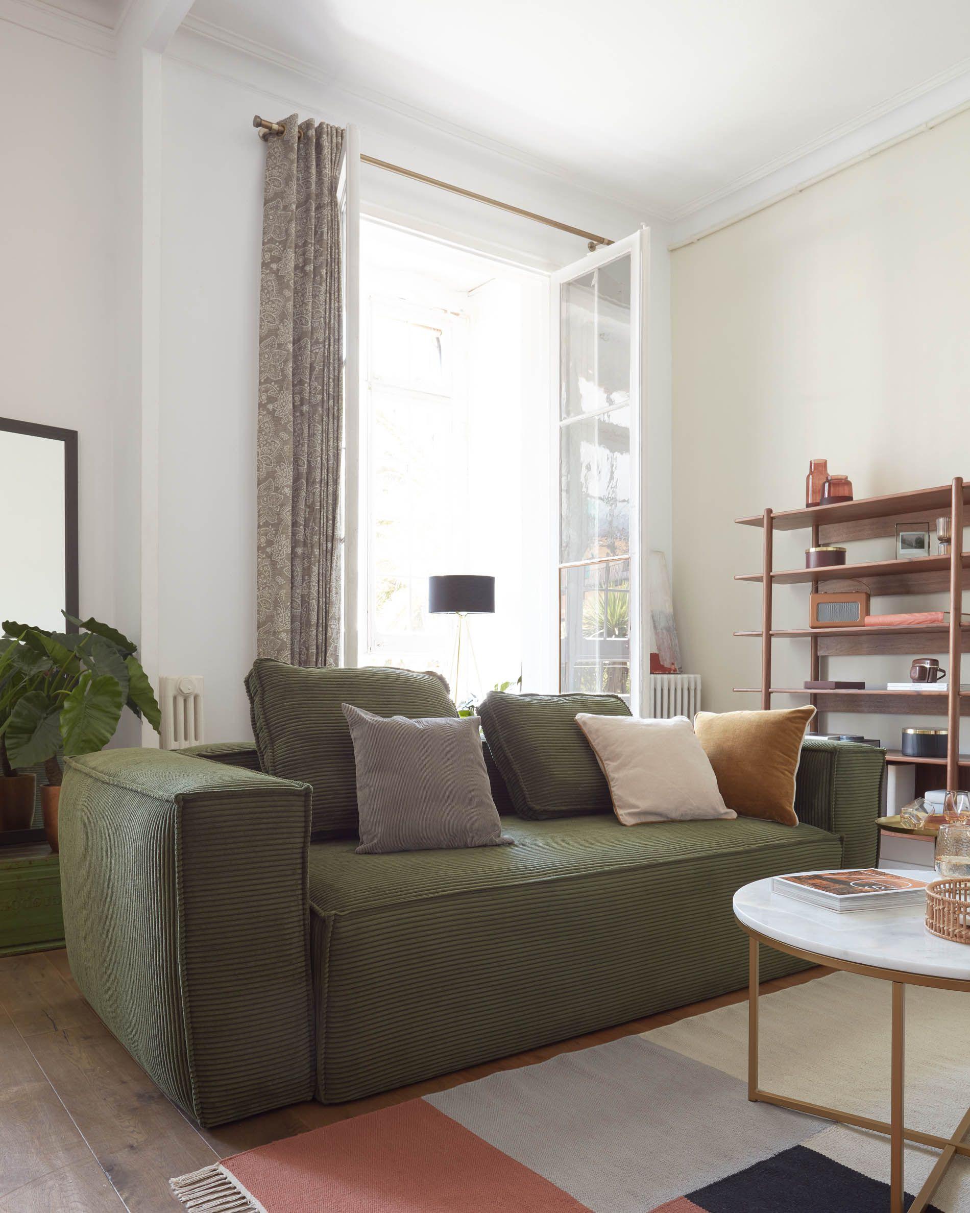 Sofá blok en pana verde