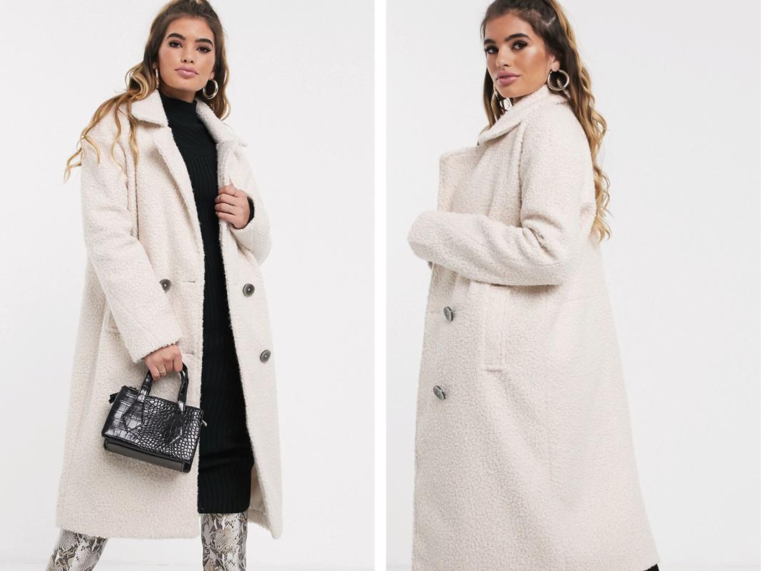 Abrigo largo con doble botonadura en blanco de Missguided