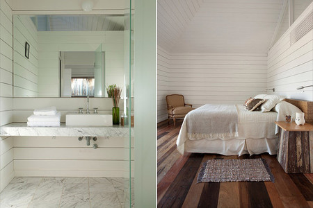 Baño y dormitorio en madera blanca