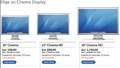 La web de las Cinema Displays tiene el récord de Apple en web sin actualizarse