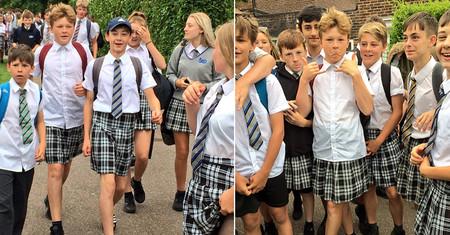 Los chavales británicos que decidieron ir al colegio en falda porque no les dejaban llevar pantalón corto