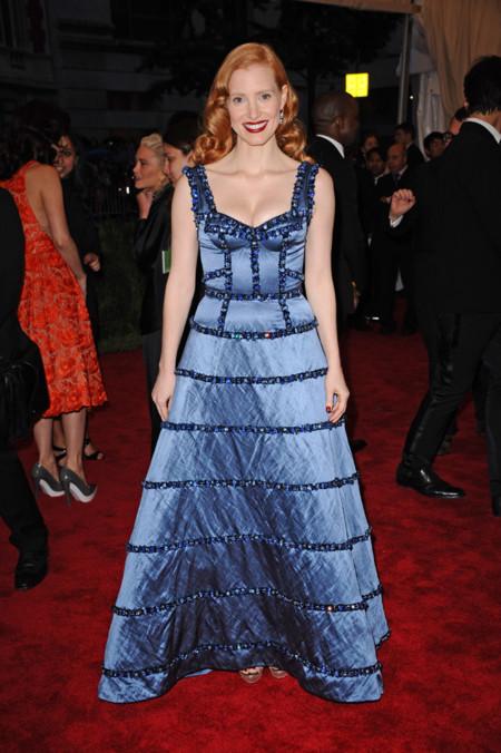 Peores looks peor vestidas Costume Insitute MET Gala Jessica Chastain Louis Vuitton