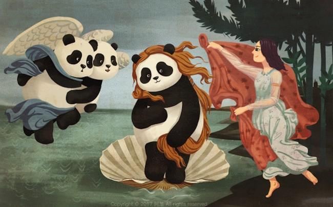 Reemplazar a los humanos con pandas en icónicas pinturas es lo que el arte estaba pidiendo a gritos