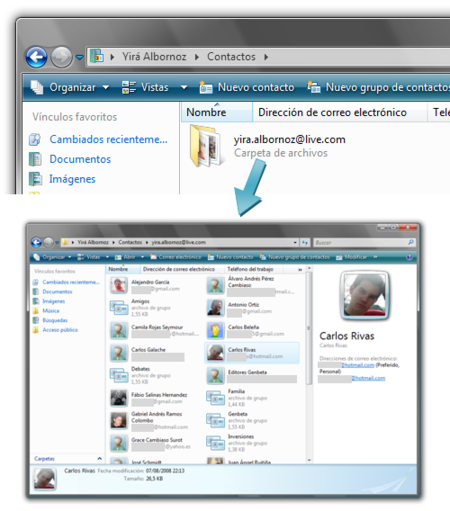 Contactos de Windows Live en Vista