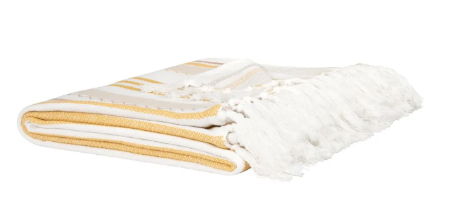 Manta de algodón ecológico color amarillo, crudo y gris 160 x 210