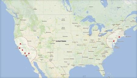 Mapa de la Red de Supercargadores de Tesla (Hoy)