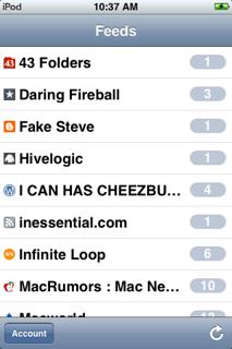 WWDC: Primeras imágenes de NetNewsWire Mobile