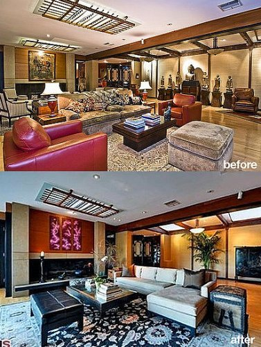 El salón de Ryan Philippe, antes y después.