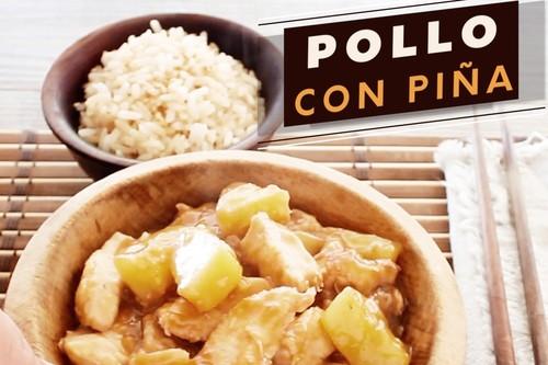 Pollo con piña y salsa de soya. Receta oriental en video