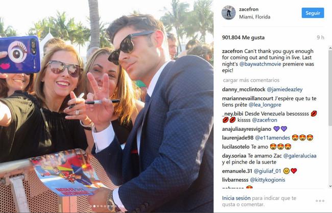 Zac Efron nos deja mudos con su look en el estreno de 'Baywatch' en Miami