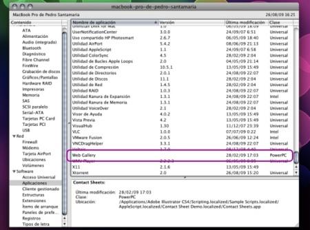 Informacion sobre tipo aplicacion universal powerpc intel
