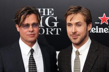 Dos guapos muy guapos, hasta con estilo retro: Brad Pitt y Ryan Gosling juntos