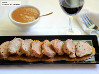 Solomillo de cerdo con salsa de foie. Receta de aprovechamiento