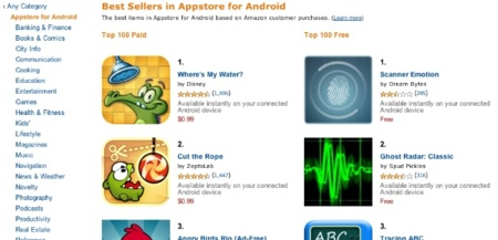 Cuidado, Google: algunos desarrolladores ganan más dinero en la Amazon App Store que en Android Market