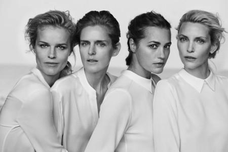Nadja Auermann, Yasmin Le Bon, Stella Tennant y Eva Herzigova fotografiadas por Peter Lindbergh para Armani
