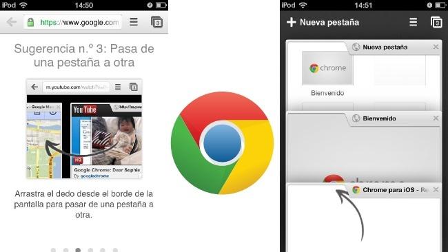 Cómo cambiar entre pestañas en Chrome para iOS