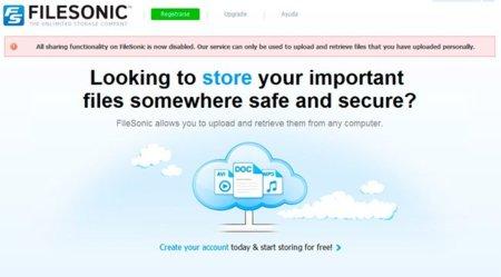 Filesonic, otro servidor de alojamiento de archivos que desaparece del mapa